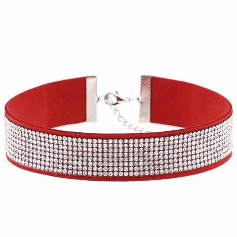 Black Leather Rhinestone Choker Necklace for Women - Best Collar fashion jewellery