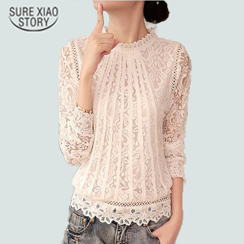 New Summer Ladies White Blusas Long Sleeve Chiffon Lace Crochet Tops