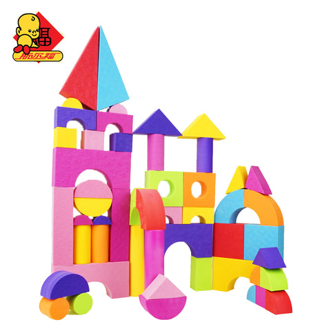 Hot Selling EVA Safe Children Building Brick Block Foam - 50 pcs Soft Construction Toy for Kids; Intelligence Exercise for children