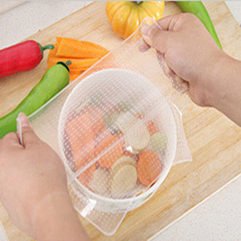 FHEAL 3pcs Silicone Stretch Cling Film for keeping Food Fresh