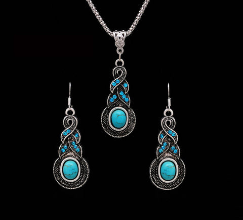 Silver CZ Crystal Vintage Jewellery Tibetan Chain Pendant Necklace Earrings Set - Best Stone Jewelry sets