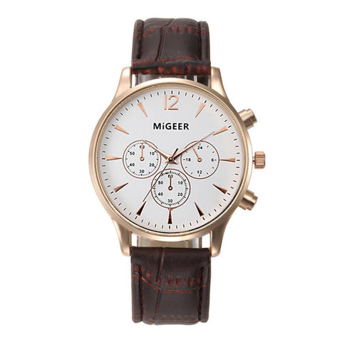 Men's 'Classic' Quartz Stainless Steel and Leather Dress Watch