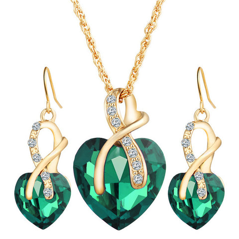 Gold Color Crystal Heart Jewelry Sets For Women - Necklace, Earrings Jewelry Set - New Bridal Wedding Accessories