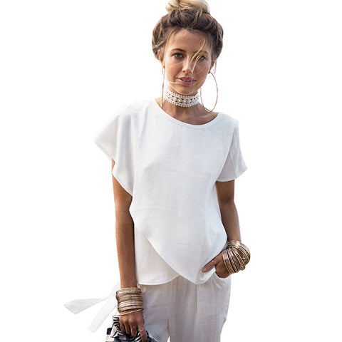 Short Sleeve White Chiffon Blouses for Womens - Summer Women Casual Blouse