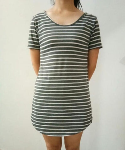 New Arrival Female Sundress Black White Striped O Neck Mini Dress - Plus Size Women Clothes