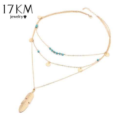 Multi Layer Fashion Leaf Chain Necklaces for Women - Bohemian Blue Stone Choker Chain Jewelry