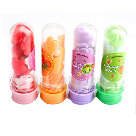 Portable Tube Soap Petals For Travel- Scented Soap Bath Flakes for ChildHand Washing Soaps (Random Colors)