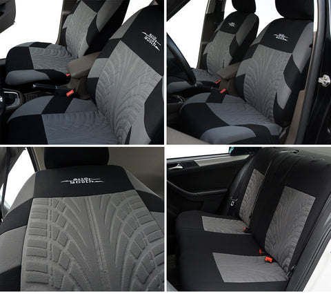 Embroidery Car Seat Covers Set Universal Fit Most Cars Covers with Tire Track Detail Styling Car Seat Protector