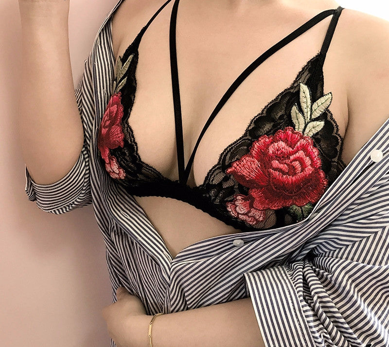 floral embroidery lace bralette - Wolfe The Label