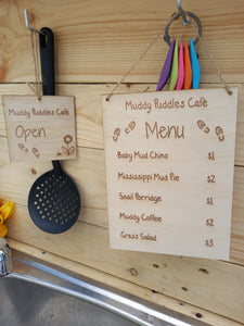 Mud Kitchen Menu & Open/Closed Sign