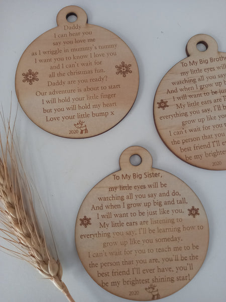 Daddy/ Sister/ brother to be ornament