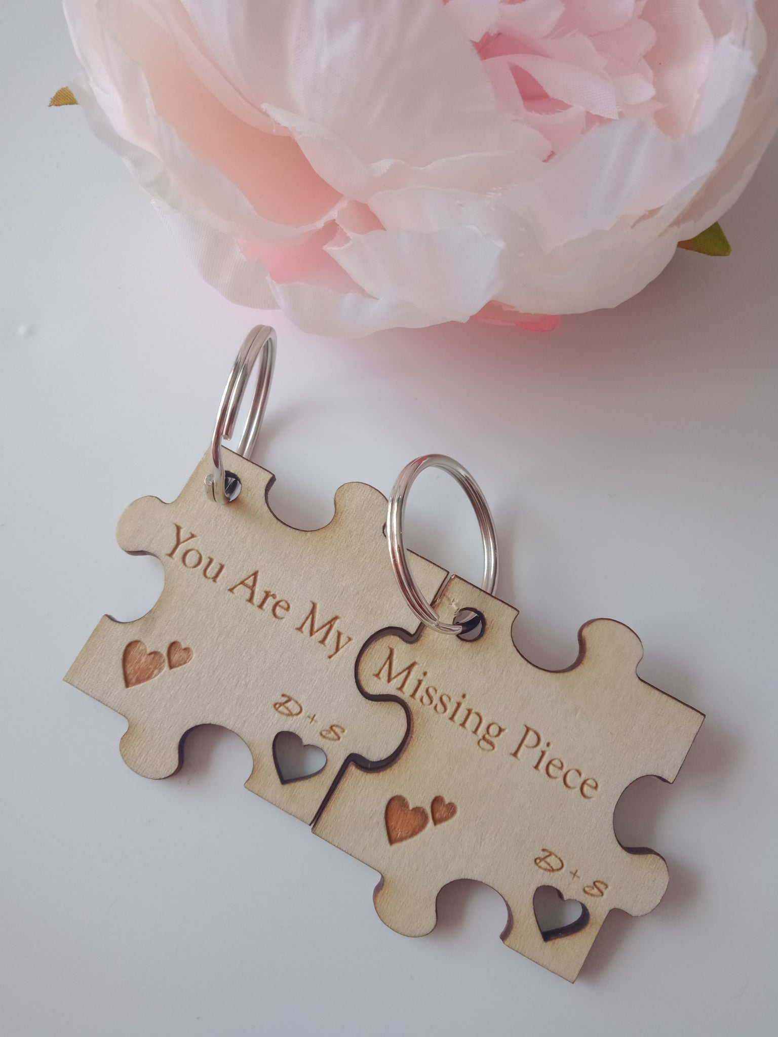 Personalised Love puzzle keyrings
