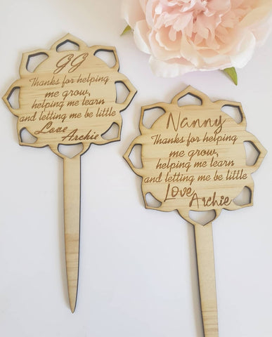 Thank You Flower Stem Planter Stick. Personalised