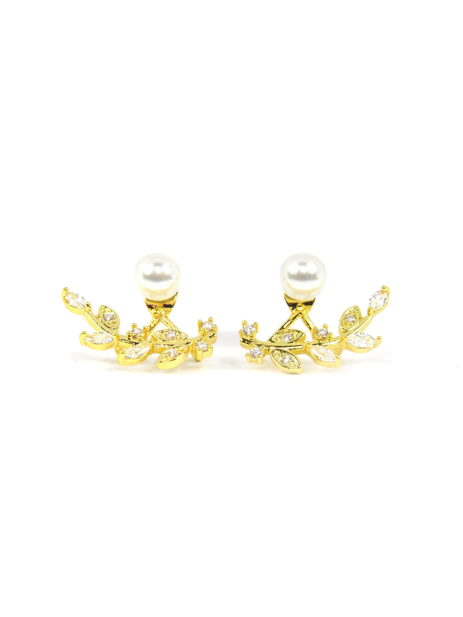 Dazzling Leaves with Pearl Ear Jacket | Sparkleloots