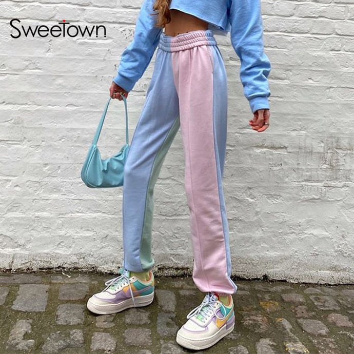 Contrast Color High Waisted Sweatpants