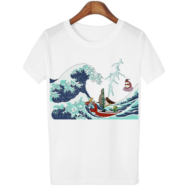 2016 New Harajuku Tops Tees GreatWave T shirt Women Blusa White Camisetas mujer
