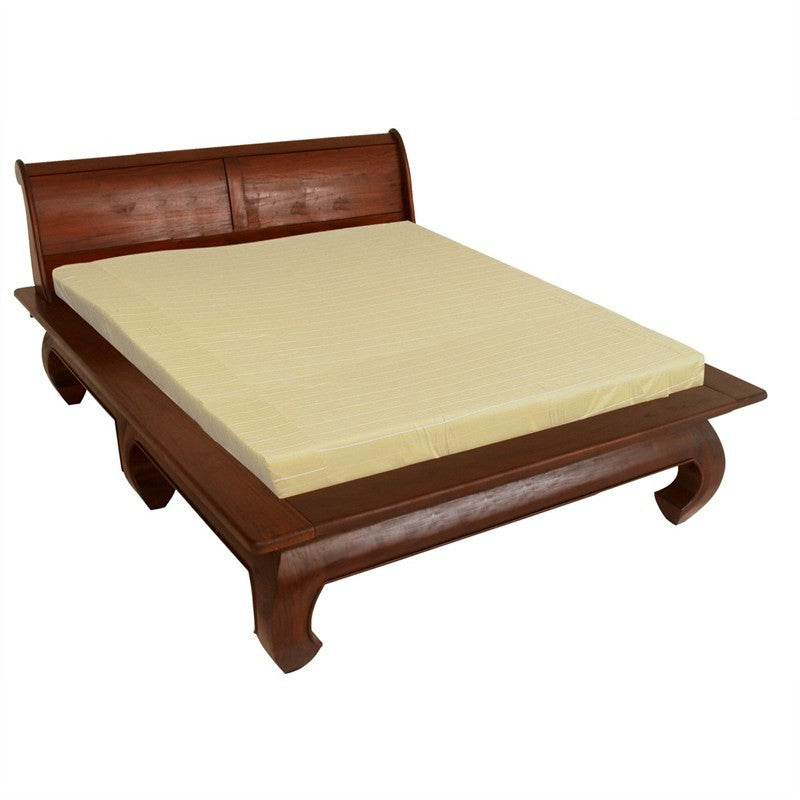 Bali Solid Teak Timber Queen Size Opium Bed - Mahogany Color ATF388BS-000-OL-QUEEN-M_1