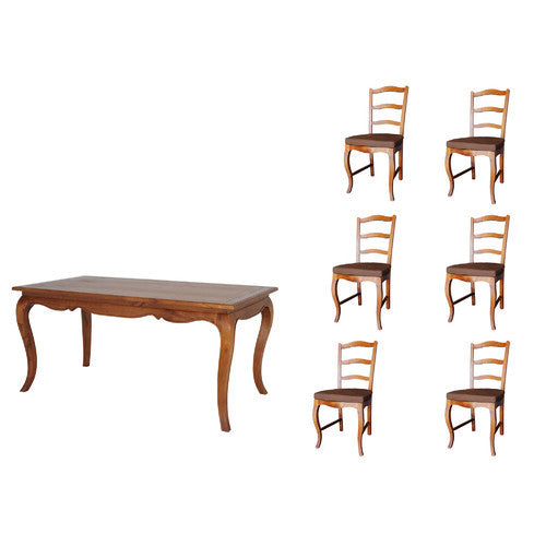 Cannes French Provincial Dining Table 160 cm and 6 Chair Set Special Package