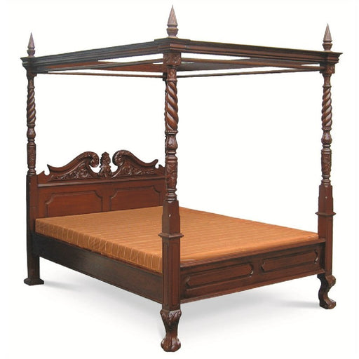 French Jepa Solid Teak Timber Queen Size Postal Bed - Mahogany ATF388BS-400-CV-Queen-M_1