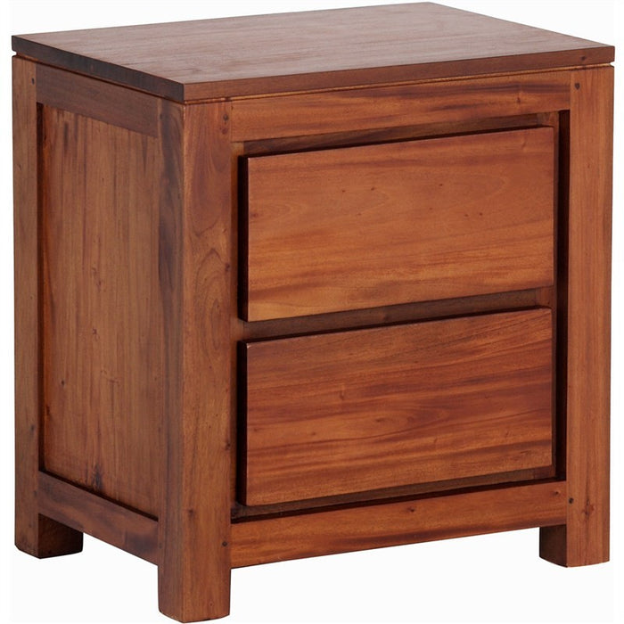 Los Angeles Solid Teak Timber 2 Drawer Bedside Table - Light Pecan ATF388BS-002-TA-LP_1