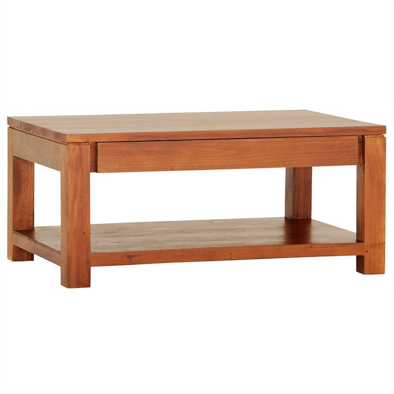 Los Angeles Solid Teak Timber 90cm Coffee Table with Shelf - Light Pecan ATF388CT-002-TA-LP_1