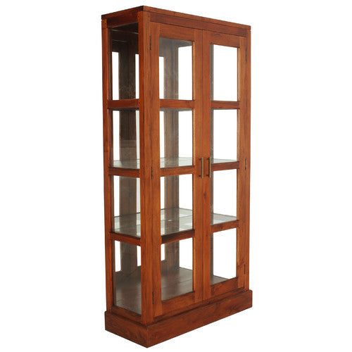 Lyon-Paris-Teak-Display-Cabinet-Light-Pecan-Colour