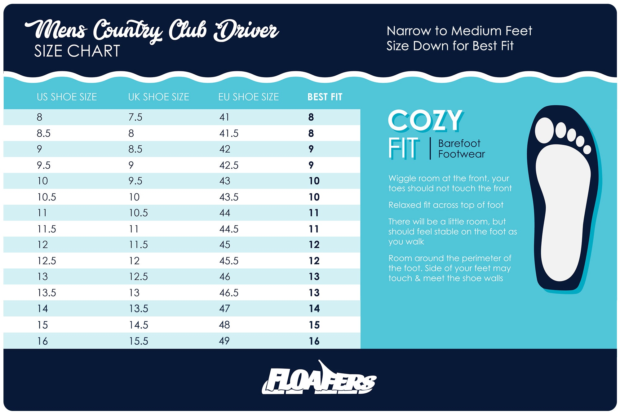 Mens Country Club Driver Size Chart