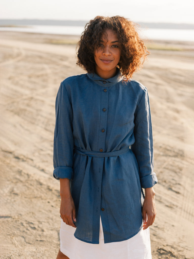 long linen blouse, highlighted waist line with a long thin wrap belt, photo shoot in desert like place