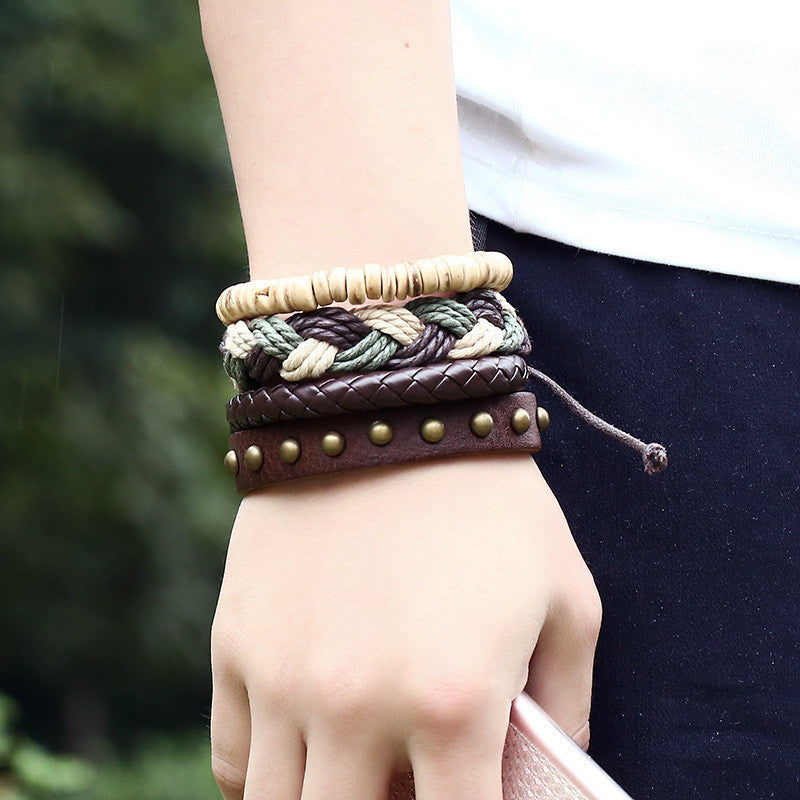 European Style Retro Diy Bracelets High Quality Unique Design Leather Bracelets