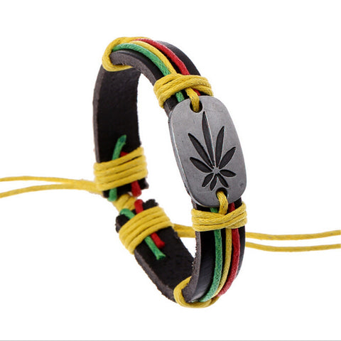 Hiphop Style Women Men Leather Maple Leaf Bracelet Wristband