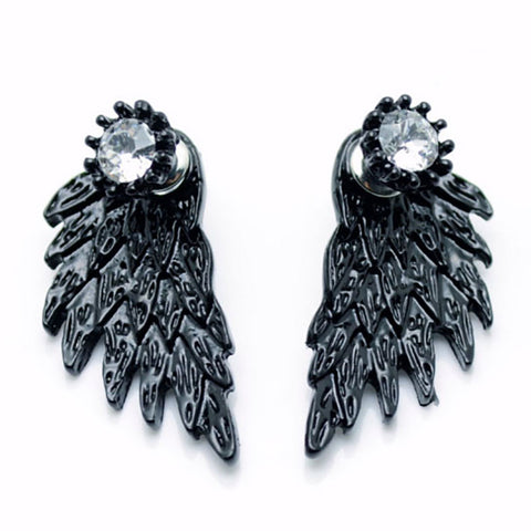 Women Wing Shape Alloy Ear Stud Imitation Diamond Earrings Jewels Steampunk