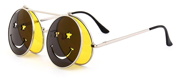 Vinatage steampunk metal frame red yellow clip on sunglasses