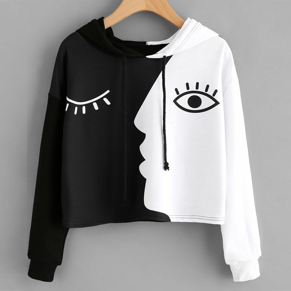 Ladies Sweatshirt Hooded Long Sleeve Crop Patchwork  Fashionista