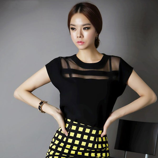 Women Chiffon Shirts Summer Black Tulle Sheer Ladies Tops Fashionista