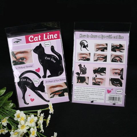 2Pcs Women Cat Line Pro Eye Makeup Tool Eyeliner Stencils Template Shaper beauty