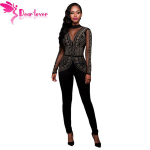 Long Jumpsuits  Steampunk Studded Pattern Mesh Insert Night Club Rompers Overalls Steampunk