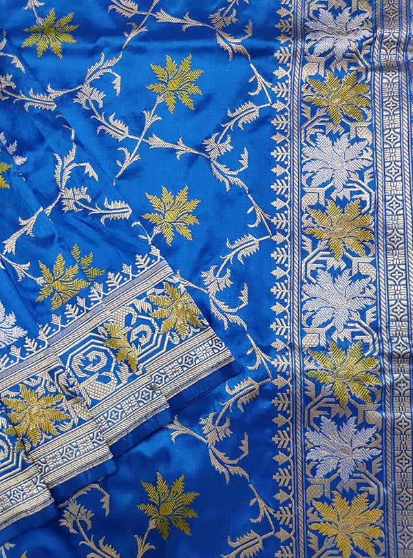 Azzure blue katan silk handloom meenedar Kadwa Jangla Banarasi saree (2) close up