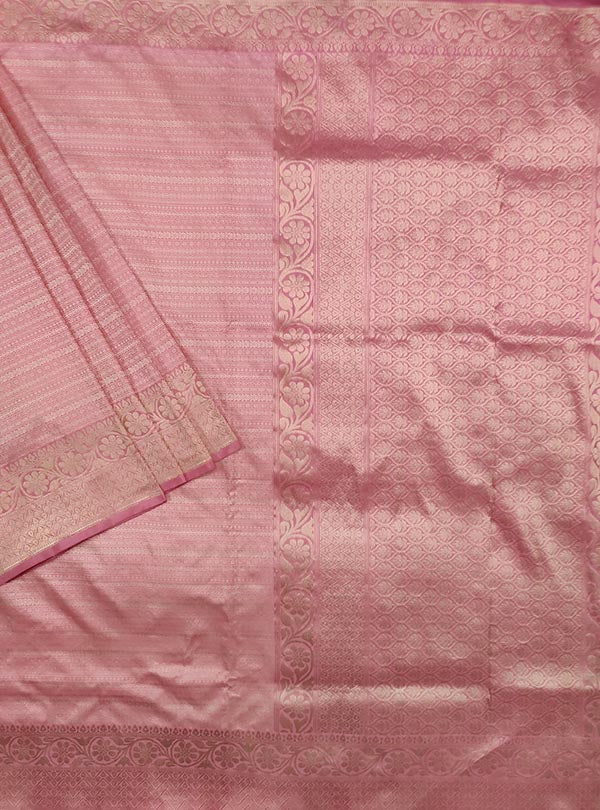 Baby pink katan silk tanchoi Banarasi saree with thin strip pattern (1) Main