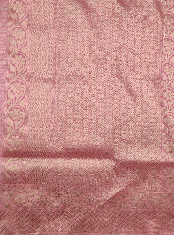 Baby pink katan silk tanchoi Banarasi saree with thin strip pattern (4) Anchal
