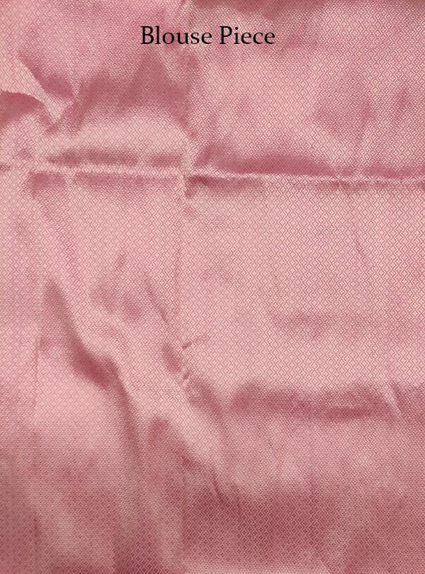 Baby pink katan silk tanchoi Banarasi saree with thin strip pattern (5) Blouse piece
