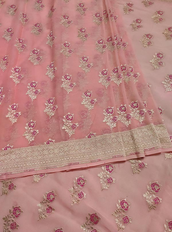 Baby pink khaddi georgette Banarasi saree with meenedar rose flower boota (3) center