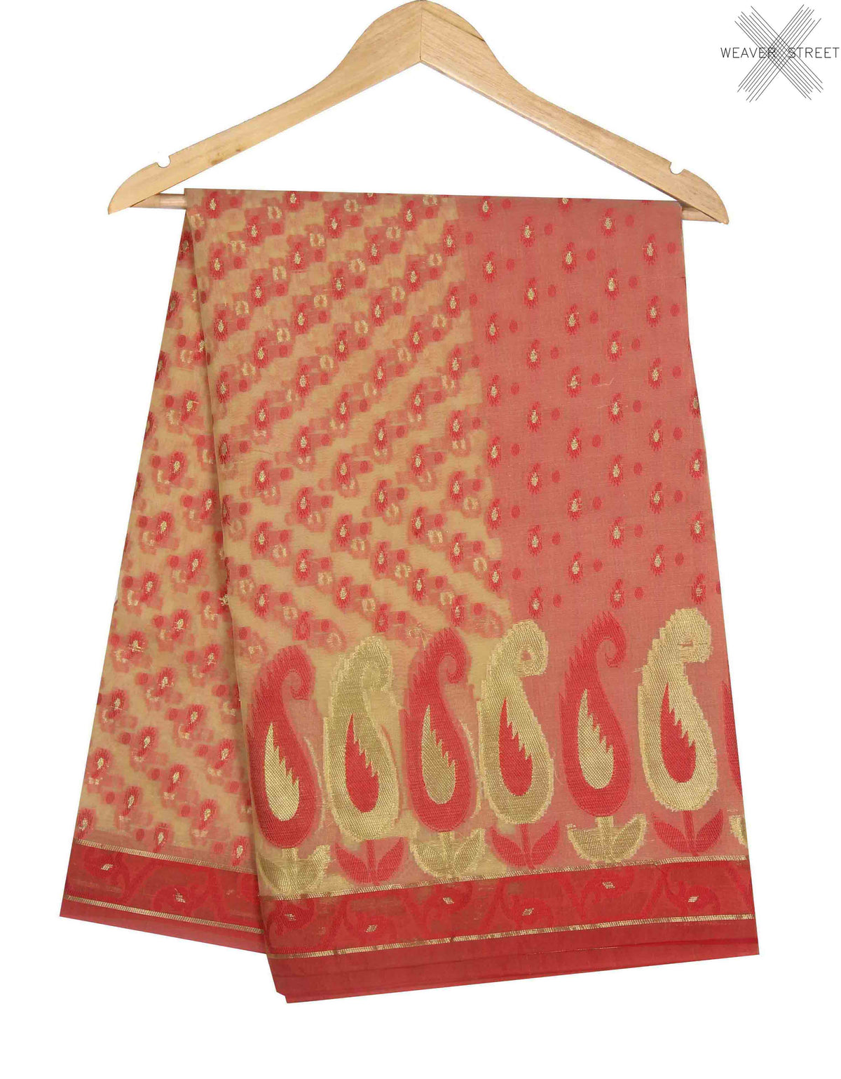 Beige Kora Banarasi Saree with paisley motifs (1) main