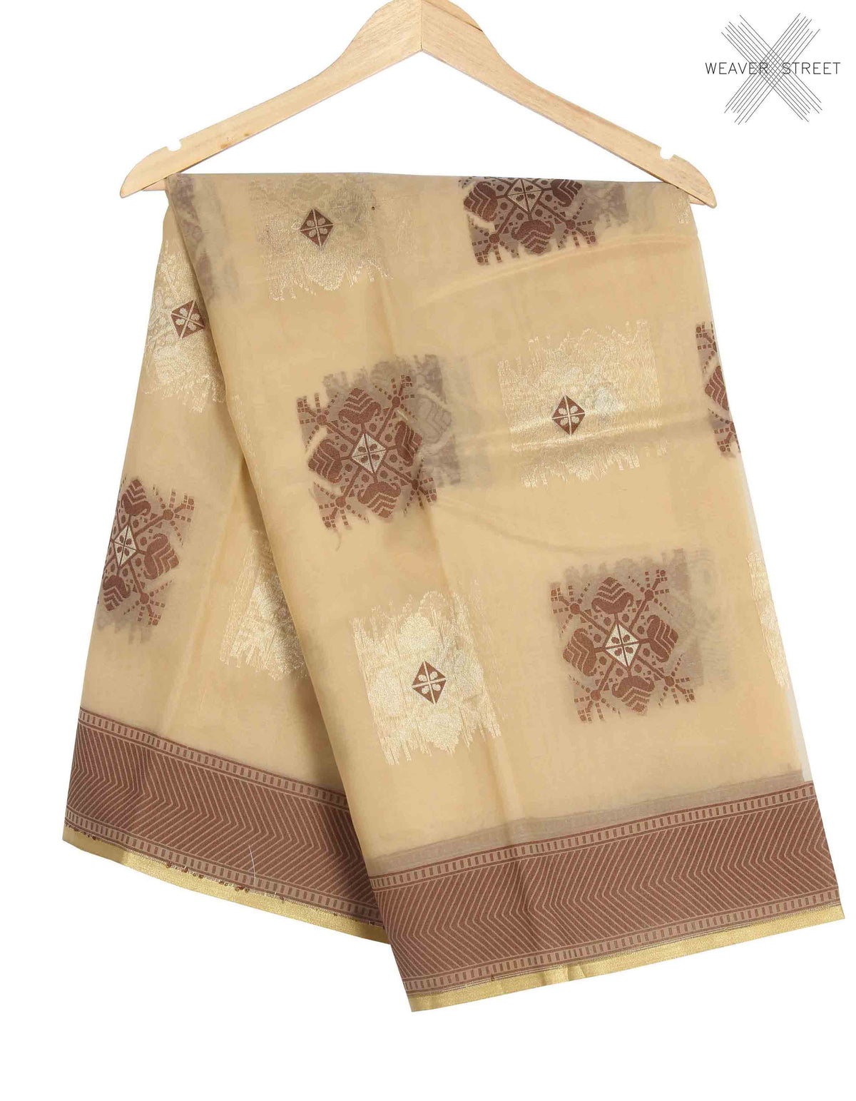 Beige Kora Banarasi saree with stylized boota (1) main
