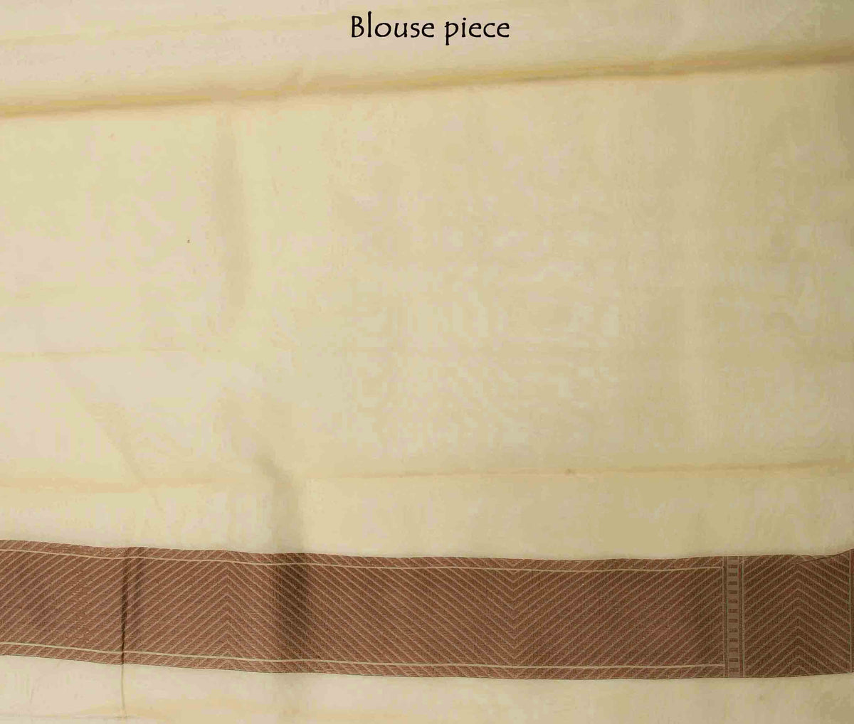 Beige Kora Banarasi saree with stylized boota (4) blouse