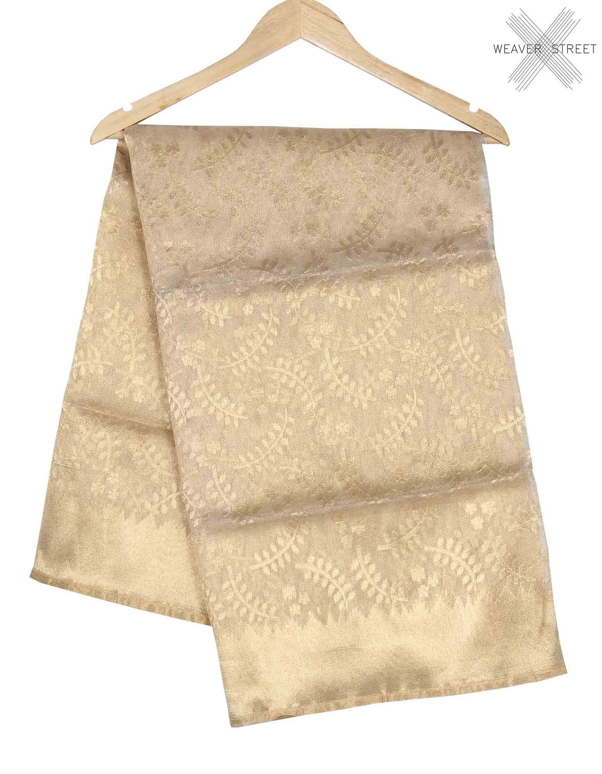 Beige Kora Silk Net tissue handwoven Banarasi saree with stylized leaf motifs (1) main