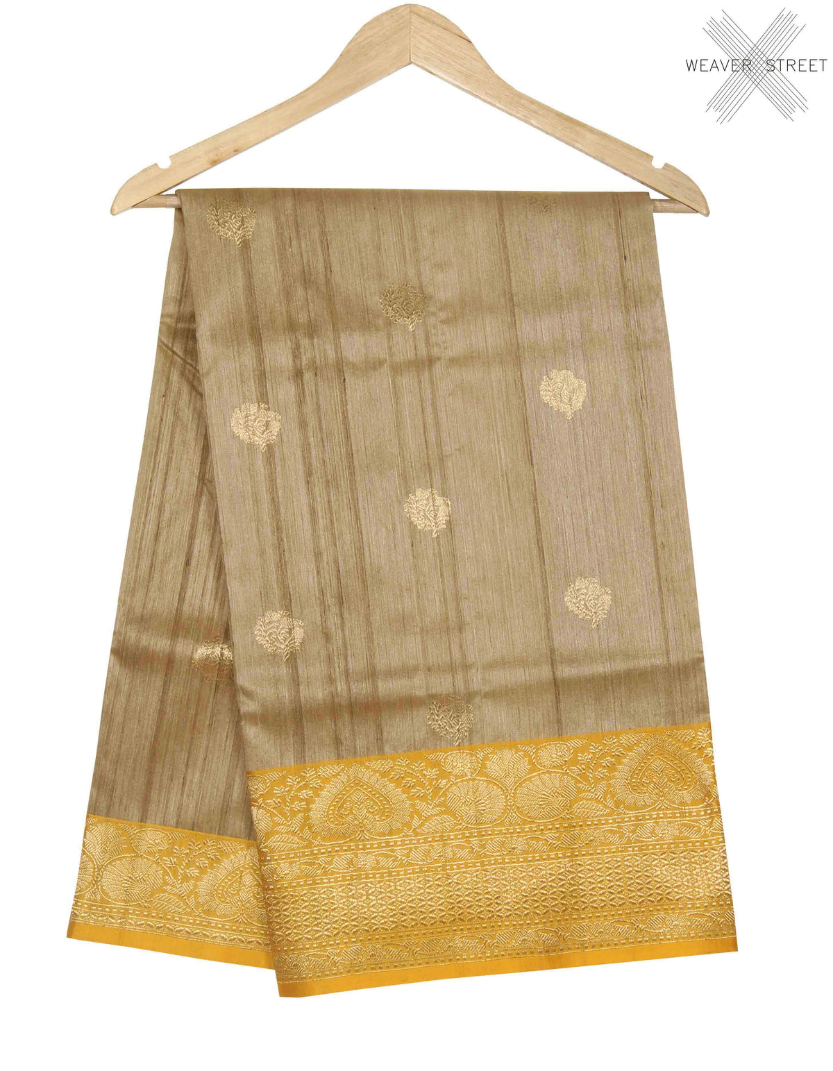Beige Tussar Silk Handwoven Banarasi Saree with stylized flower boota (1) main