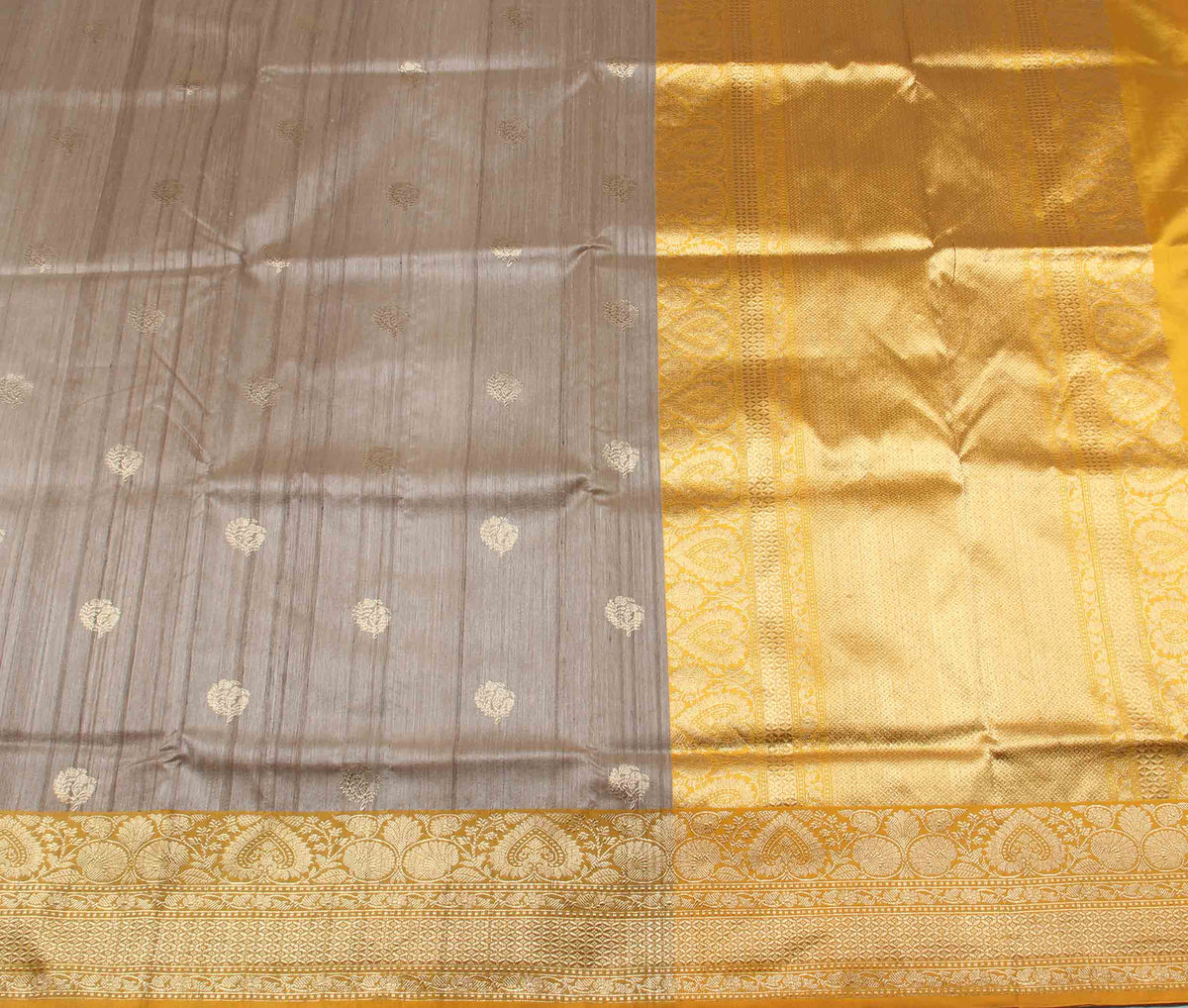 Beige Tussar Silk Handwoven Banarasi Saree with stylized flower boota (2) flat