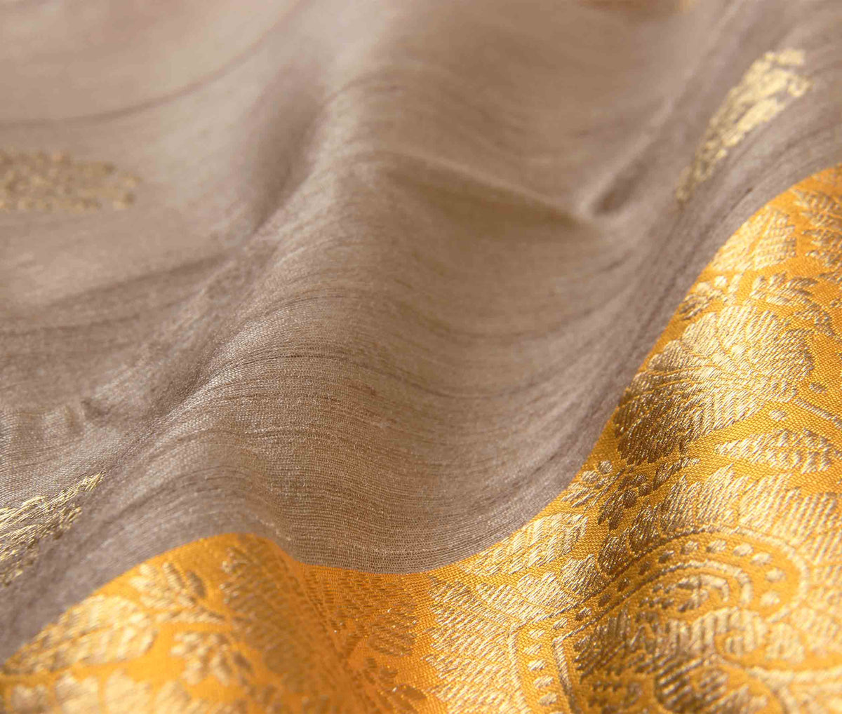 Beige Tussar Silk Handwoven Banarasi Saree with stylized flower boota (3) closeup