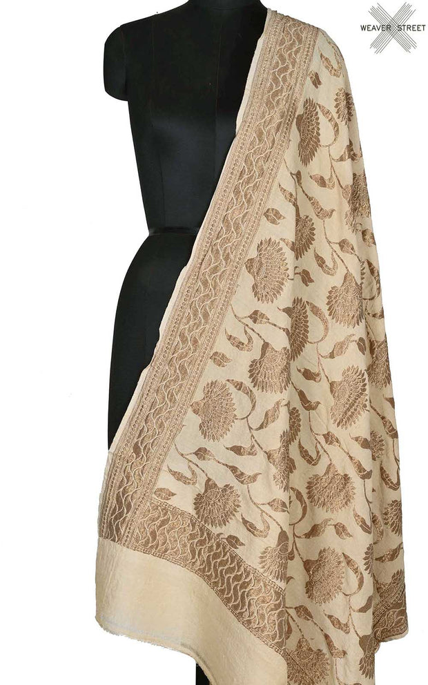 Beige muga silk Banarasi dupatta with antique floral jaal (1) Main