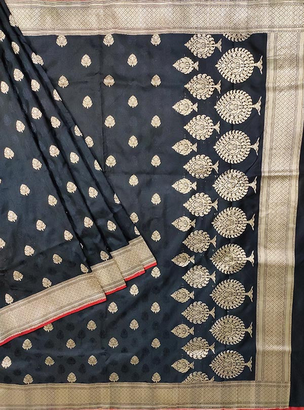 Black Katan silk handloom tanchoi Banarasi saree with mughal booti (1) MAIN